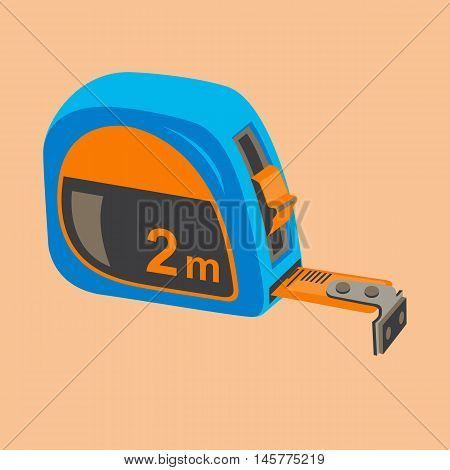 Building compact measuring tape on a beige background.Illustration of the tape measure icon