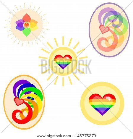 LGBT flag colors symbols set. Nice and simple illustration