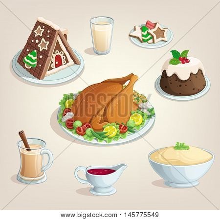 Christmas thanksgiving new Year dinner food dinner dishes illustration color vector White background icons menu