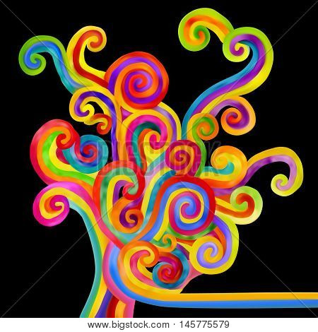 Abstract varicolored curls on black background. Decorative design element. Vector illustration