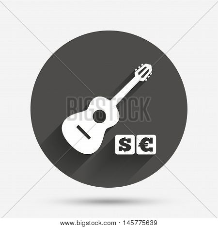 Acoustic guitar sign icon. Paid music symbol. Circle flat button with shadow. Vector