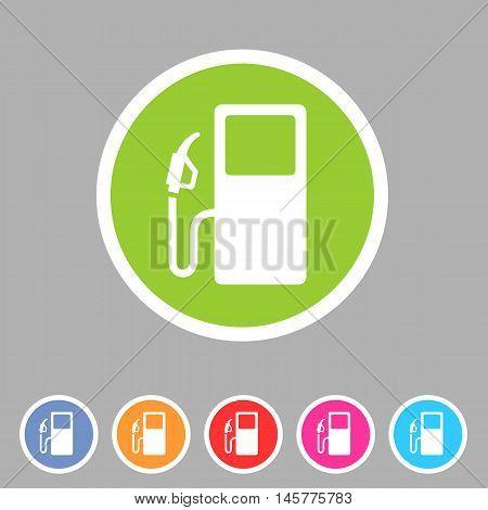gas petrol fuel station icon flat web sign symbol logo label