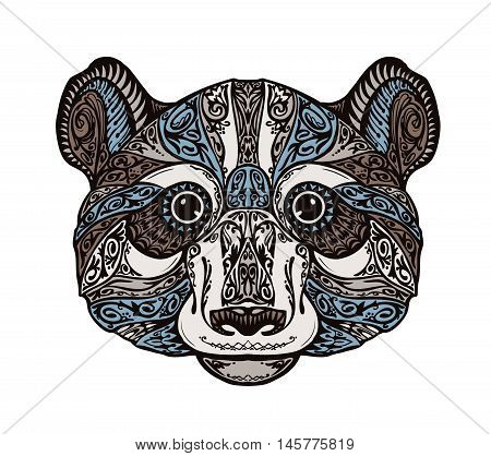 Ethnic ornamented panda or bear. Hand-drawn vector illustration with floral elements