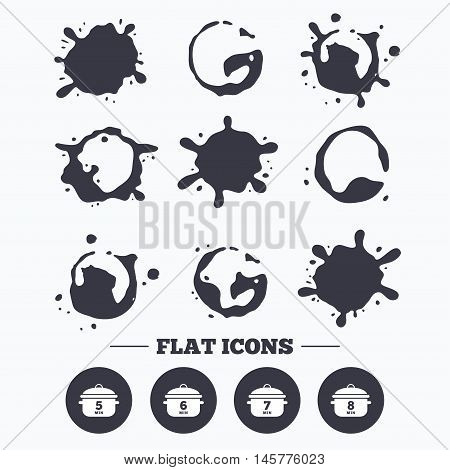 Paint, coffee or milk splash blots. Cooking pan icons. Boil 5, 6, 7 and 8 minutes signs. Stew food symbol. Smudges splashes drops. Vector