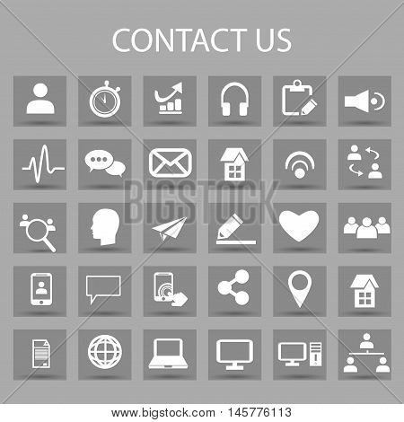 Vector flat icons set and graphic design elements. Illustration with contact us outline symbols. Communication, home, call, speech bubble, email, letter, envelope, handshake linear pictogram