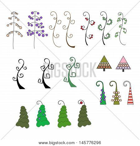 set of stylized Christmas trees and fir trees on a white background. Trees with balls