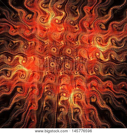Abstract fractal magic yellow fiery red wavy pattern backgrounds