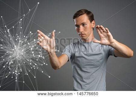 Man working with linked dots. Wireless connection concept.