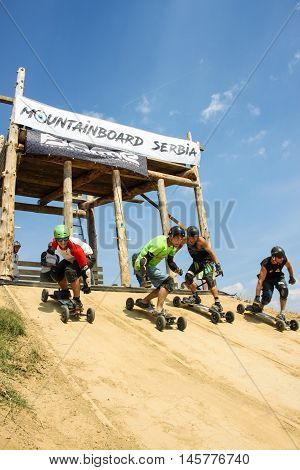 BUKOVAC Serbia - SEPTEMBER 4th 2016: World Championship Mountainboard Serbia 2016 was held on mountainboard park near Bukovac Vojvodina Serbia on September 4th 2016.
