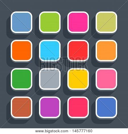 16 3d blank icon in flat style. Set 02 hover variant . Colored matted square button with shadow on gray background. This vector illustration web internet design element saved in 8 eps