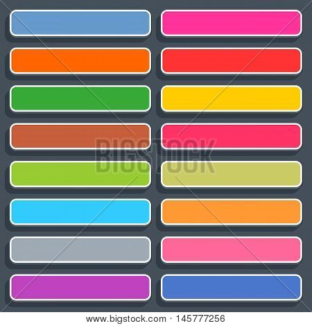 16 3d blank icon in flat style. Set 02 hover variant . Colored matted rectangle button with shadow on gray background. This vector illustration web internet design element saved in 8 eps
