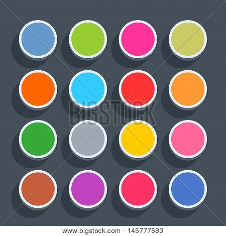 16 3d blank icon in flat style. Set 02 hover variant . Colored matted circle button with shadow on gray background. This vector illustration web internet design element saved in 8 eps