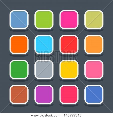 16 3d blank icon in flat style. Set 01 hover variant . Colored satin rounded square button with oval shadow on gray background. Vector illustration web internet design element saved in 8 eps