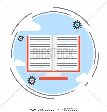 E-book, online book, electronic reader, distance education flat design style vector concept illustration