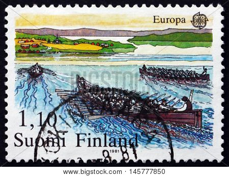 FINLAND - CIRCA 1981: a stamp printed in Finland shows Rowing to Church Traditional Event circa 1981