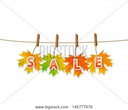 Autumn sale on colored maple leaves with clothespins on a rope, isolated on white background, illustration.