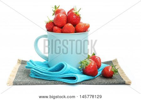 ripe red fresh strawberry on white background