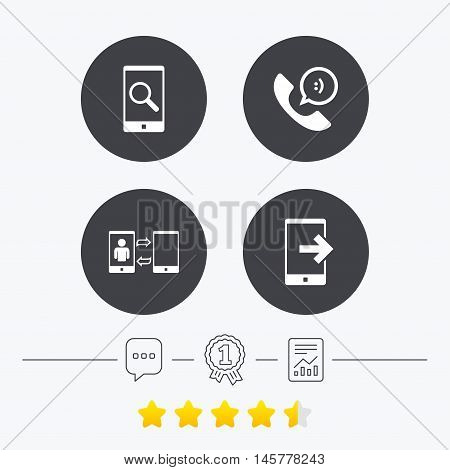 Phone icons. Smartphone with speech bubble sign. Call center support symbol. Synchronization symbol. Chat, award medal and report linear icons. Star vote ranking. Vector
