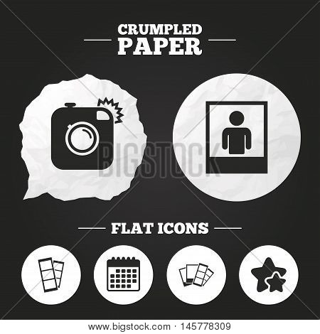 Crumpled paper speech bubble. Hipster photo camera icon. Flash light symbol. Photo booth strips sign. Human portrait photo frame. Paper button. Vector