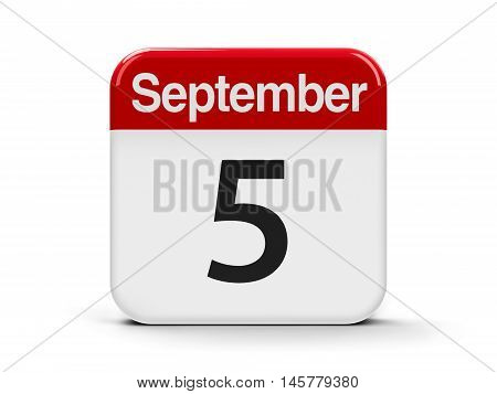 Calendar web button - The Fifth of September three-dimensional rendering 3D illustration