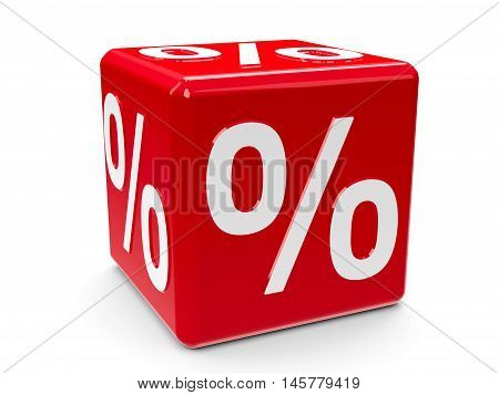 Red percent button isolated on white background represents discount three-dimensional rendering 3D illustration