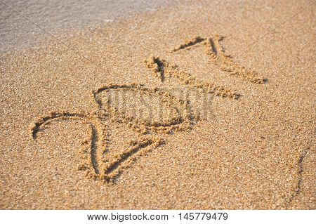 2017 written on empty wet yellow beach sand washed by sea wave