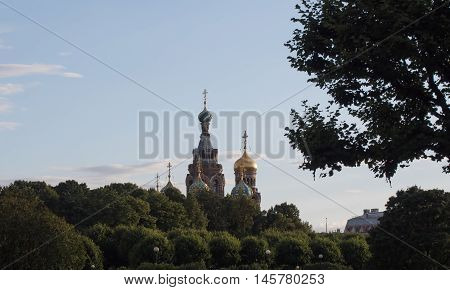 Sankt-Petersburg Russia - AUGUST 26  2016: Dome of the Cathedral of the Savior on blood