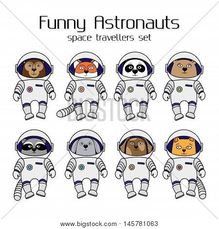 Set of cute animal astronauts, cartoon style vector illustration isolated in white background. Cartoon animal cosmonauts, cat, dog, raccoon, fox, bear, panda, monkey, rabbit in space suites