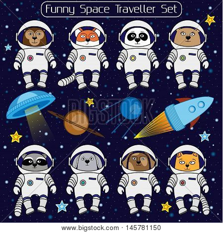 Set of cute animal astronauts, rocket, satellite, UFO, stars in cosmos, cartoon style vector illustration. Cartoon animal cosmonauts, cat dog raccoon fox bear panda monkey rabbit in space suite