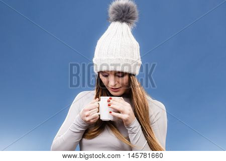 Girl In Thermal Underwear Drinking Tea