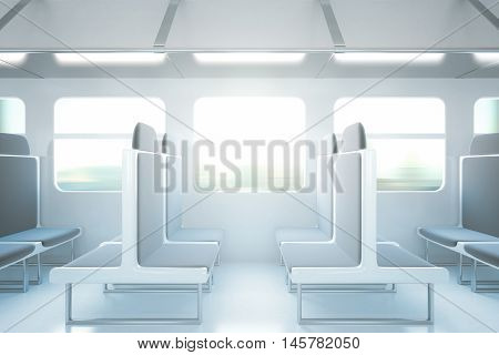Empty passenger train interior with grey seats. Side view 3D Rendering