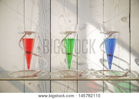 Three glass vessels with colorful liquid on shelf and wooden background. 3D Rendering