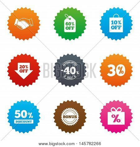 Sale discounts icon. Shopping, handshake and bonus signs. 20, 30, 40 and 50 percent off. Special offer symbols. Stars label button with flat icons. Vector