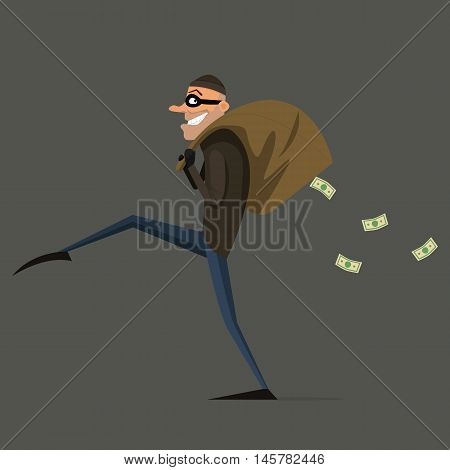 Thief steals a bag of money cartoon flat style set. EPS 10. vector
