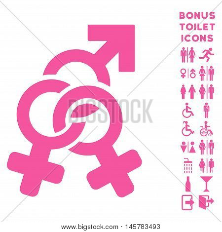 Double Mistress icon and bonus man and woman restroom symbols. Vector illustration style is flat iconic symbols, pink color, white background.