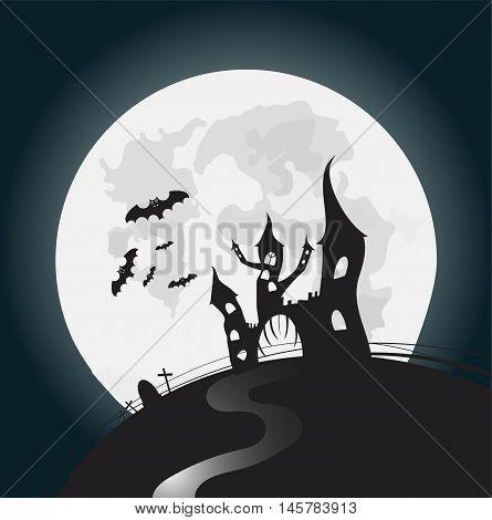 Halloween full moon night background vector illustration