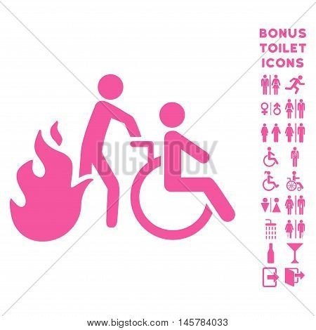 Fire Patient Evacuation icon and bonus male and female WC symbols. Vector illustration style is flat iconic symbols, pink color, white background.