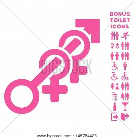 Harem icon and bonus gentleman and female restroom symbols. Vector illustration style is flat iconic symbols, pink color, white background.