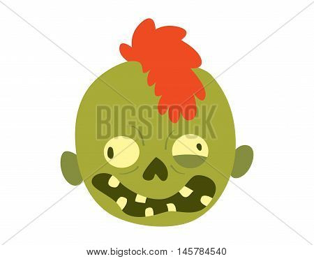 Zombie head cartoon monster character scary flat vector illustration. Zombie head smile spooky man. Portraip of cartoon moster zombie vector. Halloween kids style image of zombie hand