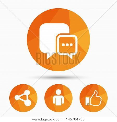 Social media icons. Chat speech bubble and Share link symbols. Like thumb up finger sign. Human person profile. Triangular low poly buttons with shadow. Vector