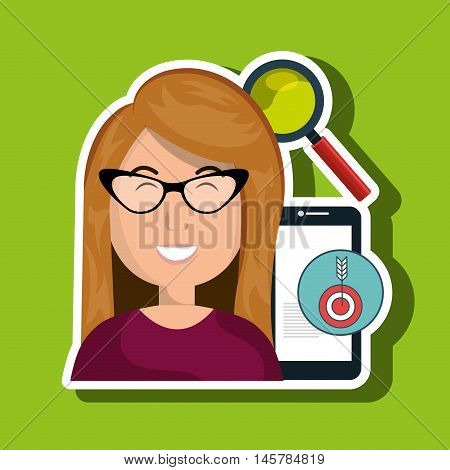 woman smartphone search target vector illustration eps 10