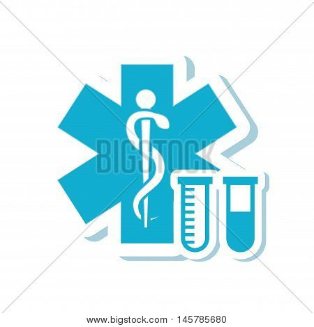caduceus tube medical health care icon. Flat and Isolated design. Vector illustration