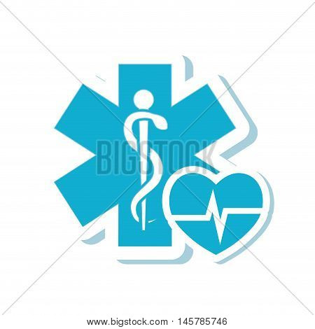 caduceus heart medical health care icon. Flat and Isolated design. Vector illustration