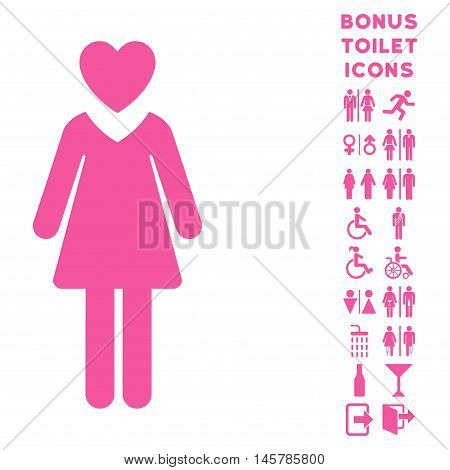 Mistress icon and bonus gentleman and female WC symbols. Vector illustration style is flat iconic symbols, pink color, white background.