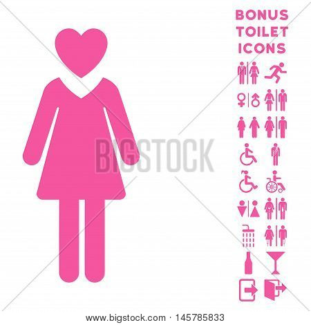 Mistress icon and bonus male and female toilet symbols. Vector illustration style is flat iconic symbols, pink color, white background.