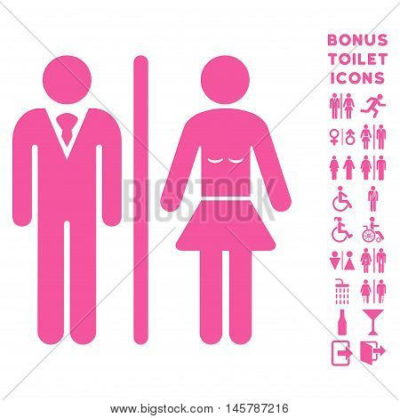 Toilet Persons icon and bonus male and woman toilet symbols. Vector illustration style is flat iconic symbols, pink color, white background.