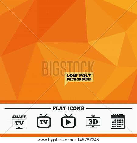 Triangular low poly orange background. Smart 3D TV mode icon. Widescreen symbol. Retro television and TV table signs. Calendar flat icon. Vector