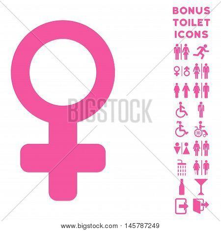 Venus Symbol icon and bonus gentleman and woman WC symbols. Vector illustration style is flat iconic symbols, pink color, white background.