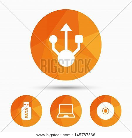 Usb flash drive icons. Notebook or Laptop pc symbols. CD or DVD sign. Compact disc. Triangular low poly buttons with shadow. Vector