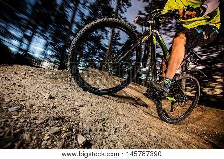 Cyclist riding a mountain bike downhill style.